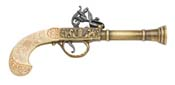 English Flintlock Blunderbuss Pistol Gold