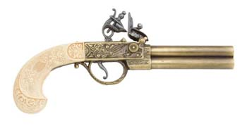 English Double Barrel Flintlock Brass