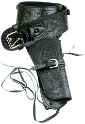 Single Tooled Black Leather Western Holster – Large