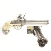 Italian 3 Barrel Flintlock Non firing Replica-Gray