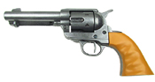 Old West Replica M1873 Antique Finish Quick Draw Revolver, Auburn Finger Grooved Grips Non-Firing Gun