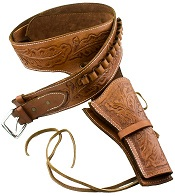 Western Deluxe Tooled Leather Holster, Tan Large