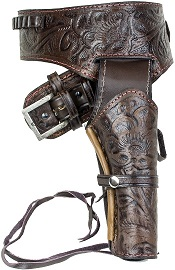 Deluxe Tooled Antiqued Brown Leather Western Holster-Large