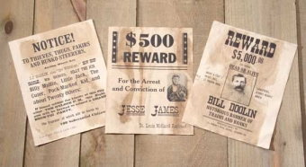 REPLICA OLD WEST WANTED POSTERS