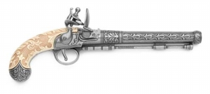 Belgian Silver Engraved Flintlock.